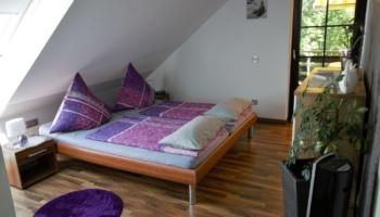 Das Schlafzimmer mit Dachschräge und Zugang zur Terrasse
